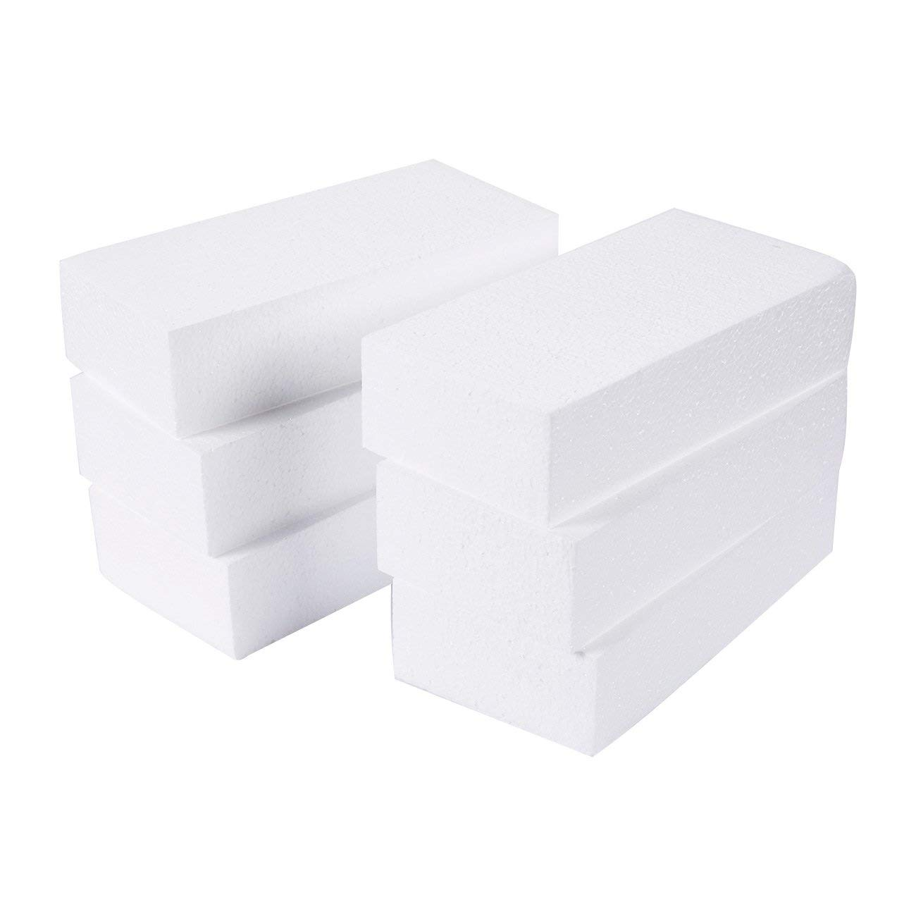 Craft Foam Block - 6-Pack Rectangle Polystyrene Foam Brick - Styrofoam Blocks for Sculpture, Modeling, DIY Arts and Crafts - White, 8 x 4 x 2 inches