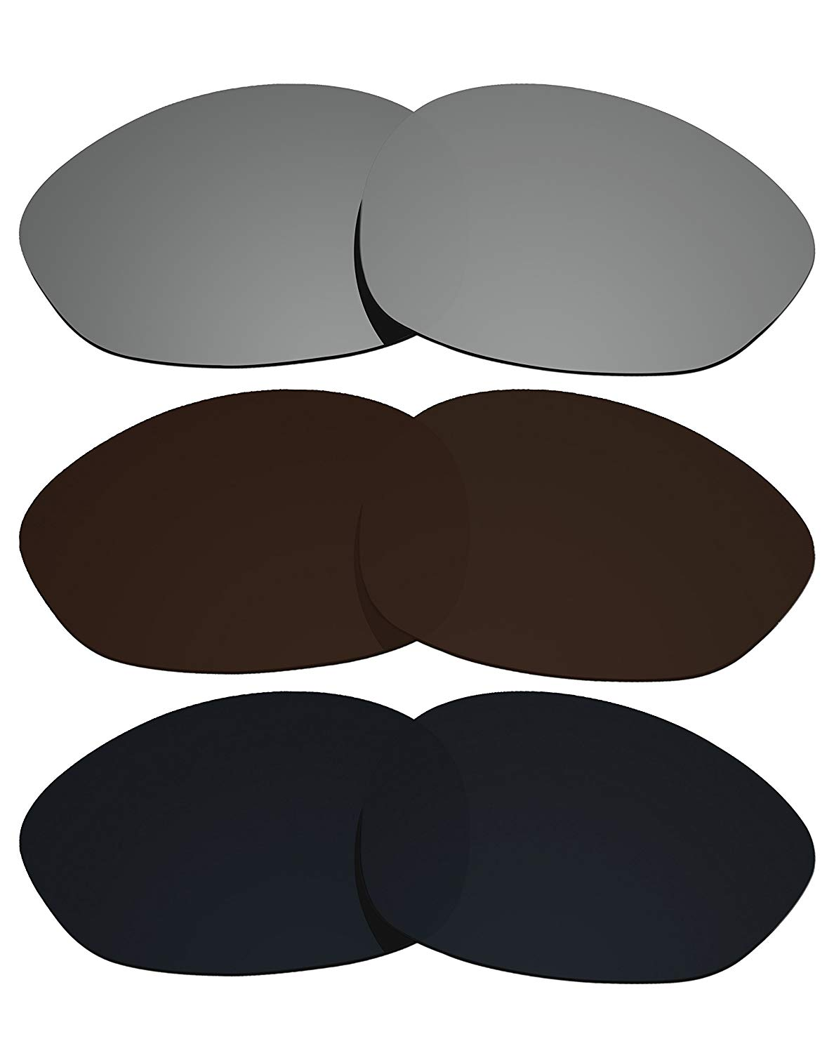 885195e83cf Get Quotations · 3 Pairs COLOR STAY LENSES 2.0mm Thickness Polarized  Replacement Lenses Brown   Black   Silver