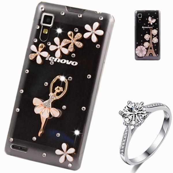 Floral Rhinestone Case For lenovo a319 luxury Flower Rose mobile phone  plastic Crystal bling hard back cover