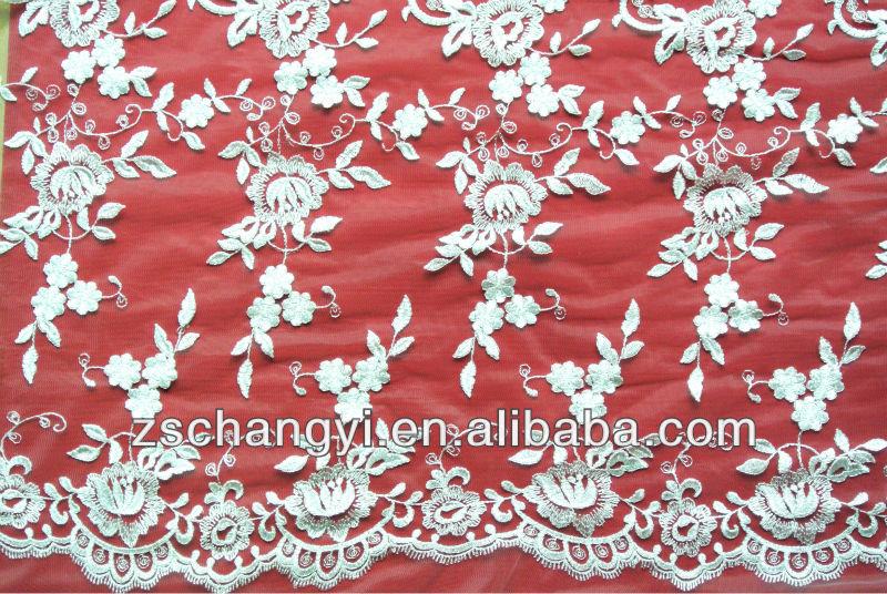 nuevo diseño elegante bordado de flores de encaje bordado con encaje ...