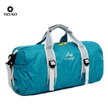 Water Proof Outdoor Custom Sports Foldable Travel Rolling Foldable Bags Travel Duffle Gym Bag With Shoe Compartment