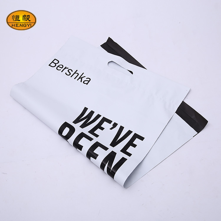 Customized Grey Plastic Mailing Post Poly Postage Bags with Handle Self Seal