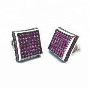 China alibaba 2014 hot selling jewelry sterling red zircon silver RH plated earring stud crew back earring designs men