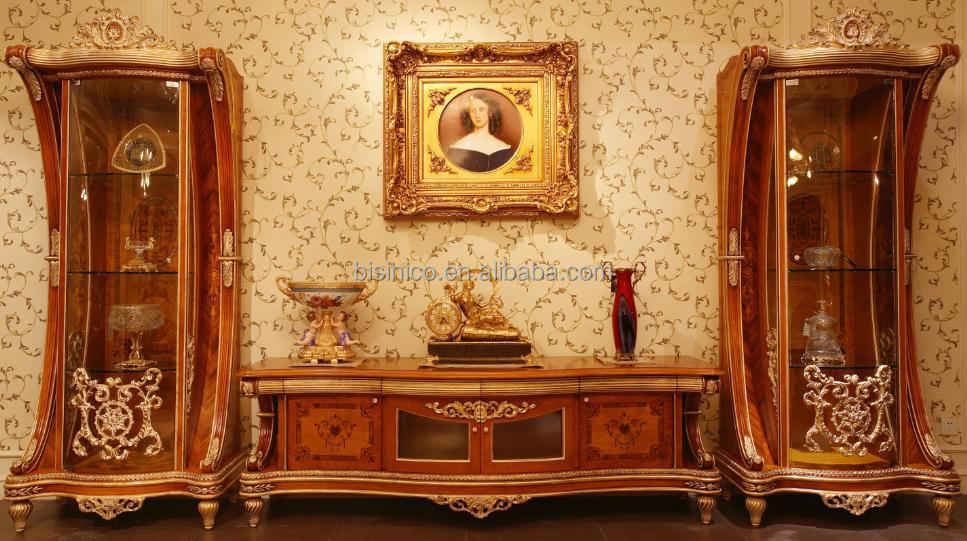 French Louis XV Style Golden Wood Carving TV Cabinet With Showcase/ Classic  Royal Living Room