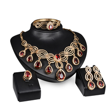 African bridal jewelry 18k gold plated red crystal statement necklace and earrings sets Dubai wedding jewelry