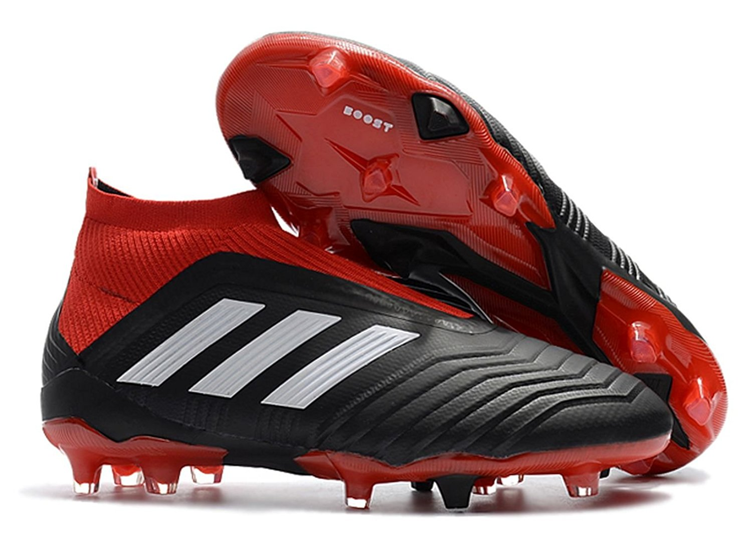 check out 8468b 681f9 Get Quotations · New Predator 18+ FG High Ankle Cleats Black Red (7 US)
