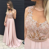 SJ2552 sexy pink popular high-neck transparent appliqued pearl prom dress