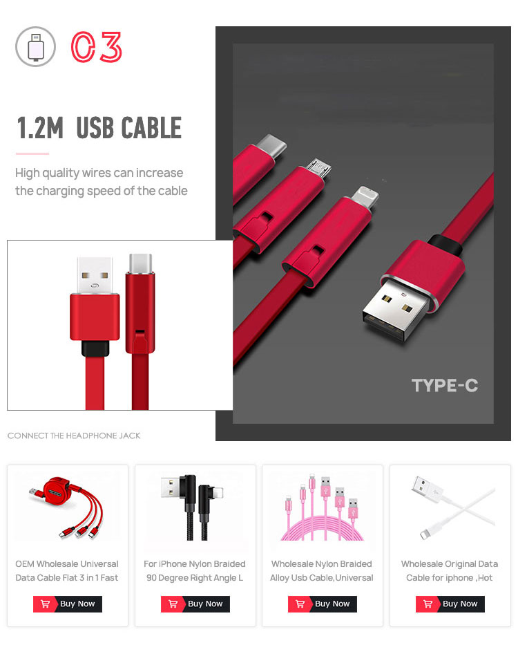 Manufacturer  5A fast charging braided data cable type-c USB charging cable support proofing customize