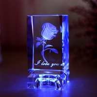 3D laser engraving Crystal cube for home decors and wedding gifts