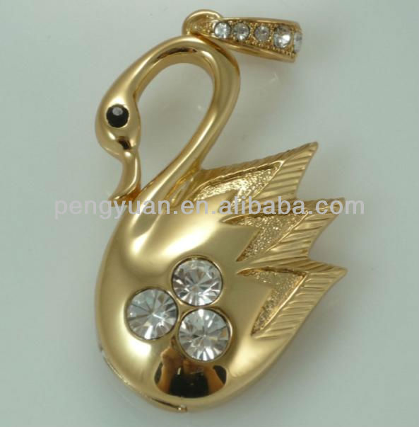 Gold swan usb flash drive as precious gift with jewels (PY-U-224)