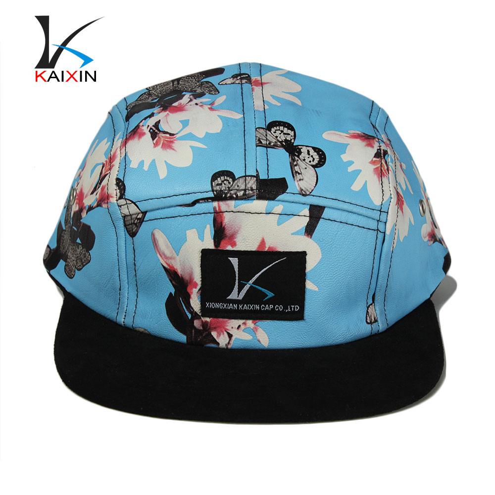 custom all over print floral dye sublimation 5 panel black leather snapback hats wholesale