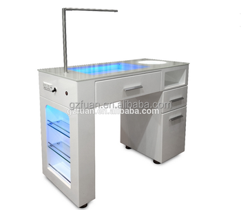 Salon White Color Shinning Manicure Table Modern Led Nails Table ...
