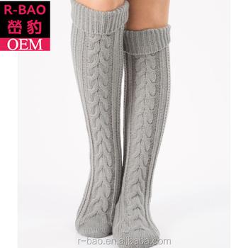5254fdd0c Women Slipper Crew Floor Non Skid Socks House Cable Knit Leg Warmers Knee  High Cable socks