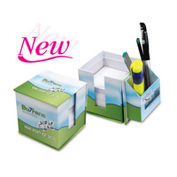 Sticky Memo Note Desk Organiser Box Set/promotion sticky flags and notes in cube box/funky sticky note pads with pen holder