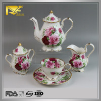 Direct Manufacturer OEM ODM arabic gold plated porcelain tea set