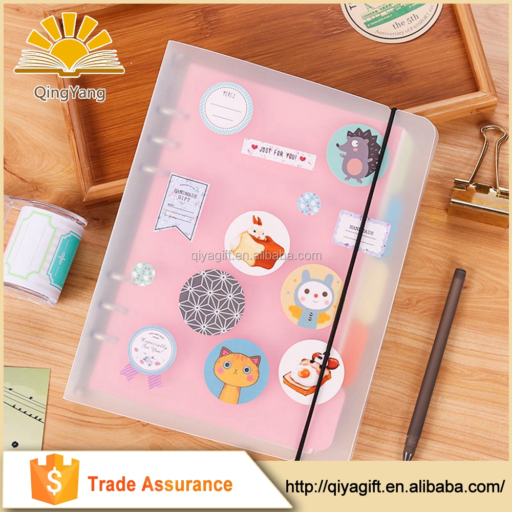 simple style transparent cover spiral notebooks with elastic band refillable notebooks with PVC bag