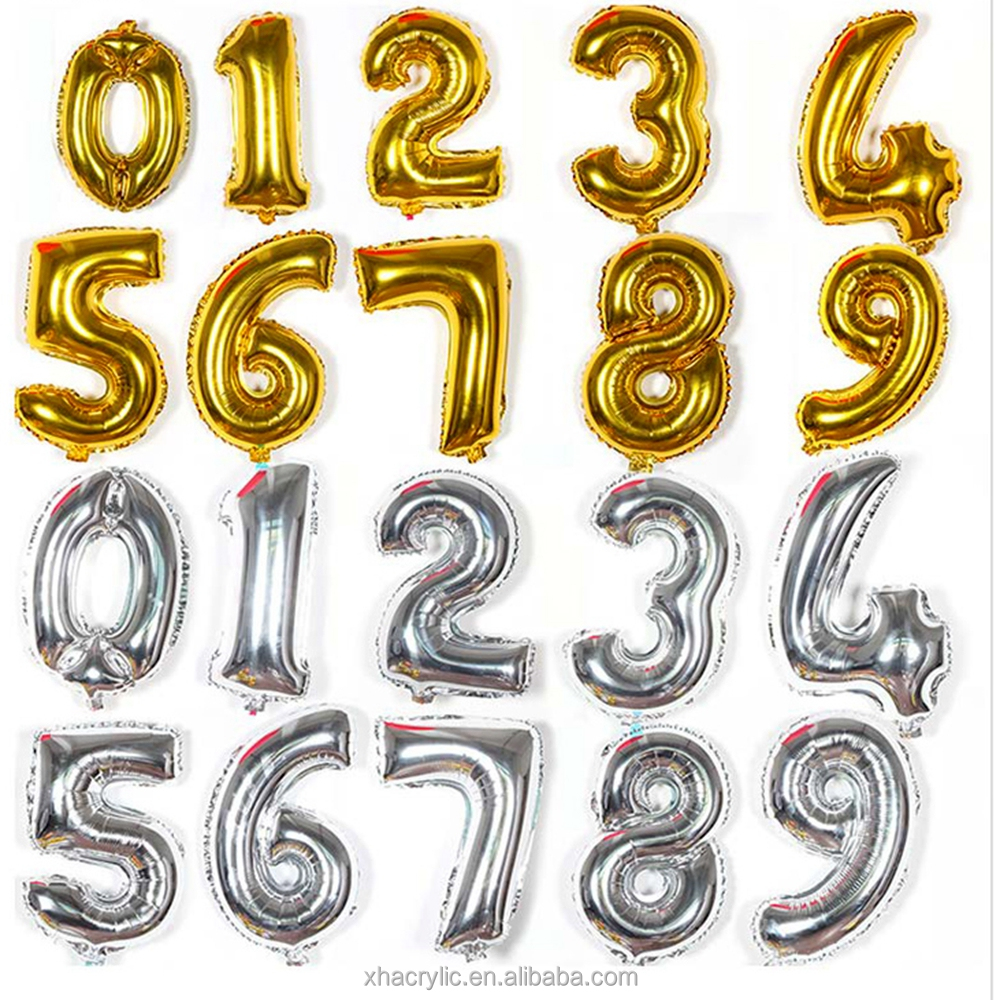 Numbers and letters party aluminum foil balloon metallic with your diy