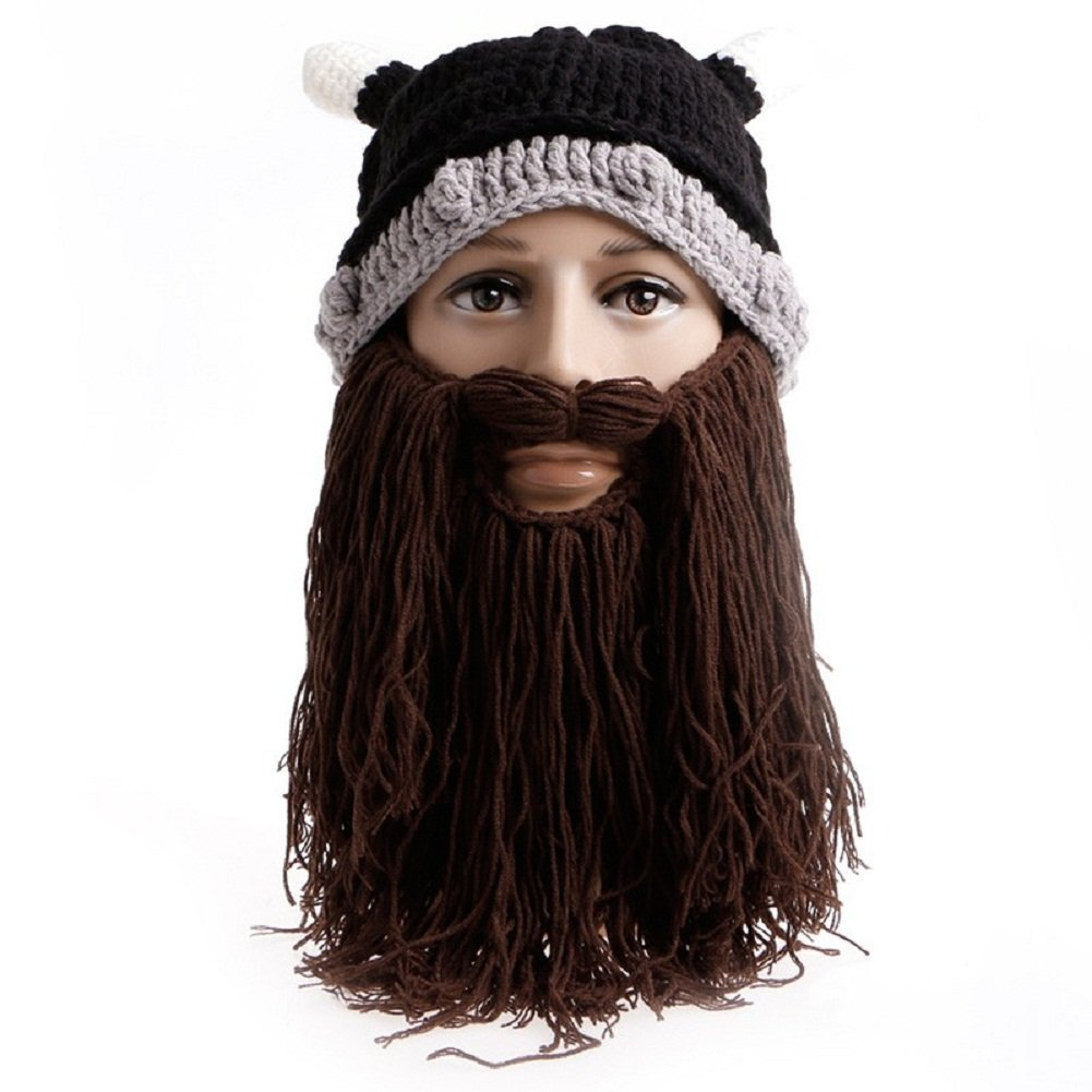 00904ad95dd Get Quotations · Qinlee Funny Knitted Beard Mustache Hat Crochet Winter  Autumn Warm Unisex Viking Crochet Hats Cap Party