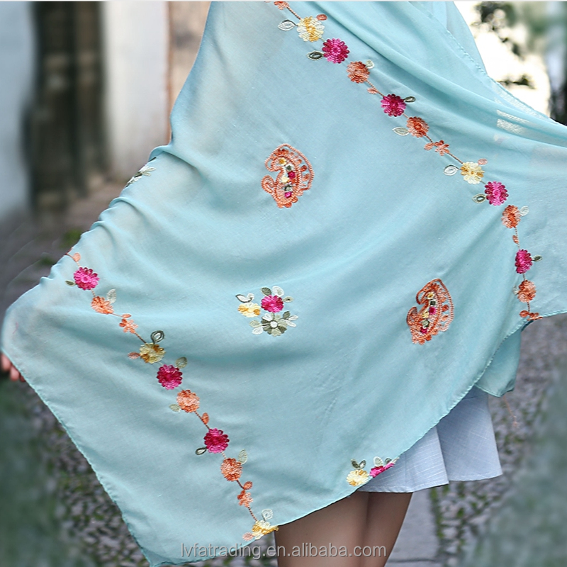 colorful cotton and linen floral embroidered scarf and shawl,women india malaysia hijab scarf