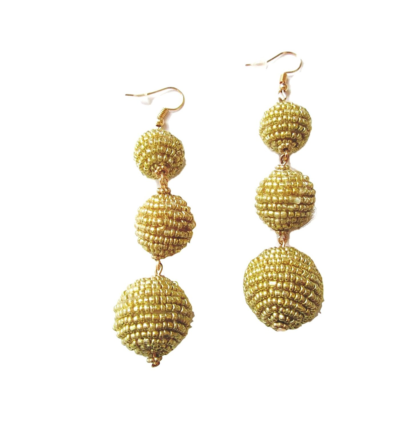 Get Ations Womens Seed Bead Dangle Ball Drop Statement Earrings 3