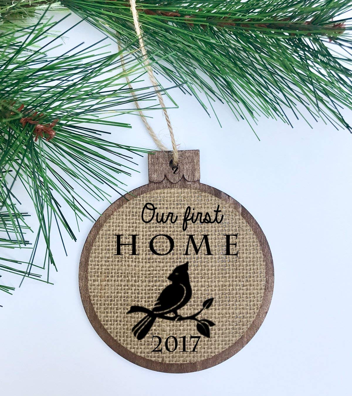 Our first home 2017 / Rustic Christmas Ornament / Wood Burlap / Christmas Shabby Chic Decor / First Christmas in our new home 2017 Cardinal Bird