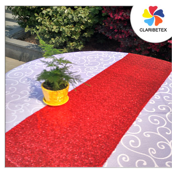 Red Custom Embroidered Tulle Sequin Table Runner