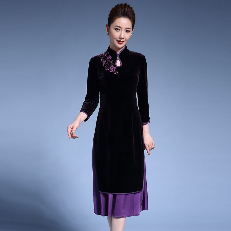 Formal Chinese Traditional Nine Points Sleeve Qipao Dresses