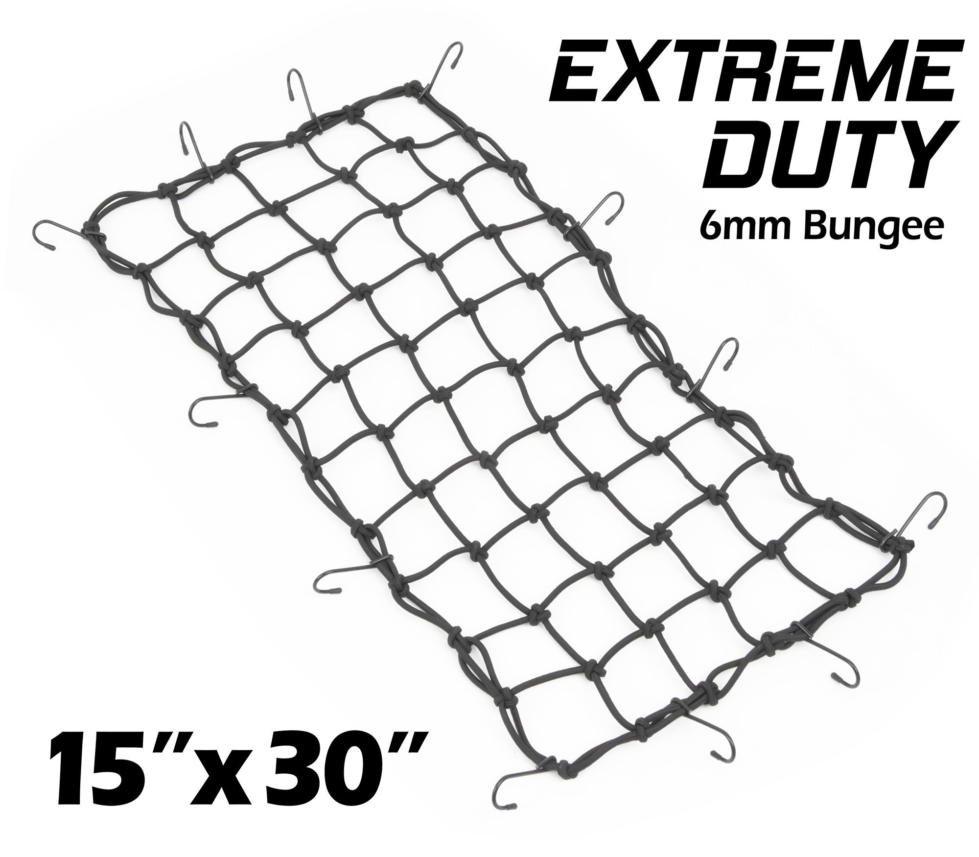 3x3 Mesh and Rubber-Tipped Super Strong Metal Hooks Allpdesky 2 Pack 15x15 Mfg Cargo Net Made with Premium Latex Bungee Material Black