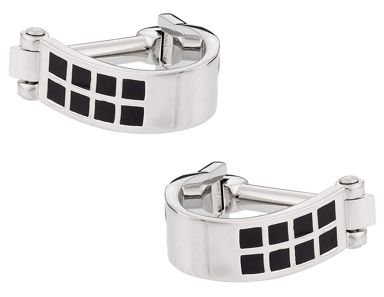 Cuff-Daddy Wrap Around Cufflinks - Silver Black with Presentation Box