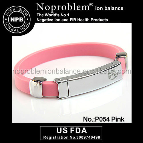 Noproblem P054 FDA tourmaline power enegy charm beautiful silicone friendship wristband bracelet