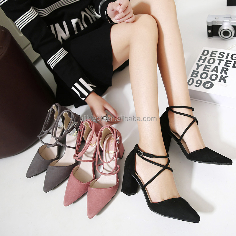 High heels shoes woman 2017 Genuine suede leather women Pumps Thin Spike Heel Pointed Toe summer Women shoes