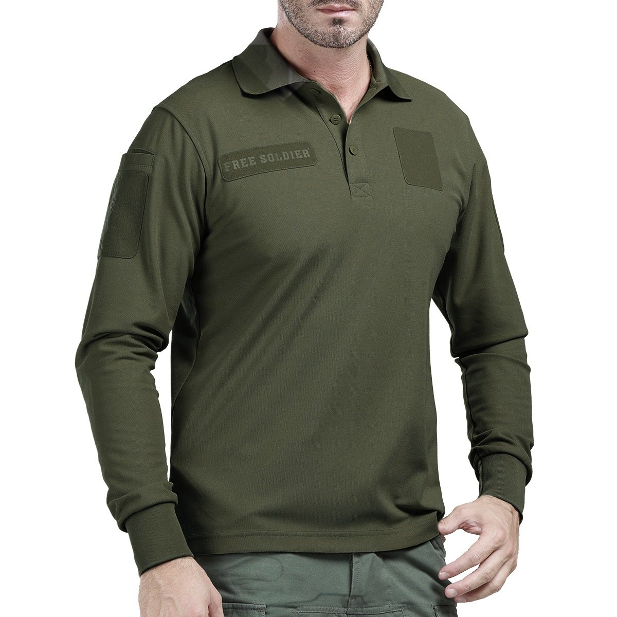 a5bfa8104239 Get Quotations · FREE SOLDIER Men s Outdoor Tactical Long Sleeve Polo Shirts  Golf Shirt