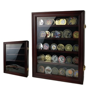 New Listing Wood Cabinet Glass Challenge Coin Display Case Custom Military Challenge Coin Display Holder