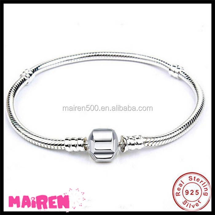 2017 New Fashion Pure Silver Jewelry 925 Sterling Silver Snake Chain Bracelet