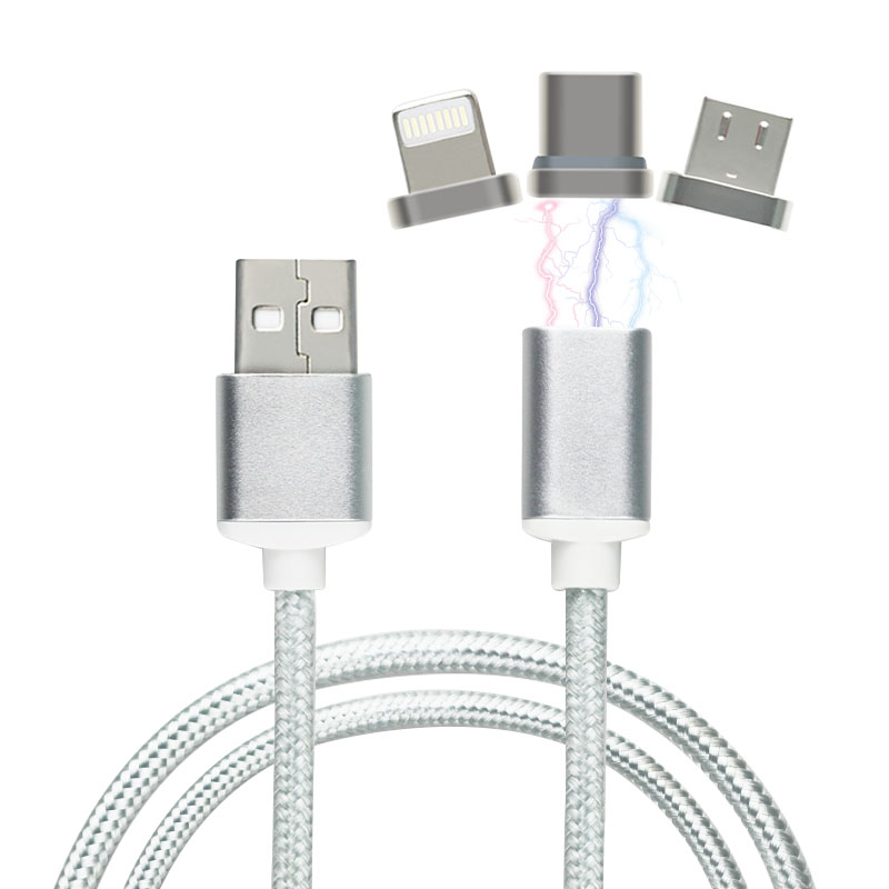 Newest 3 IN 1 Colorful Composite 1.2M Length Smart Phone Magnetic USB Data Cable