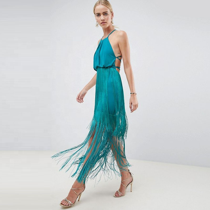 2019 Spring summer trendy women clothing knee length stitching ethnic sexy backless bodycon tassel dress фото