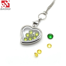 30*28.5MM Heart Shape Crystal Pendant 316L Stainless Steel Magnetic Glass Floating Charms Locket Wholesale