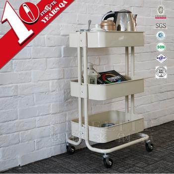 Wholesale Kitchen Furniture Hand Trolley 3 Tier Metal Storage Cart