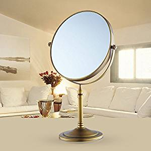Desktop mirror copper and antique-style mirror double sided three times magnifying vanity mirror gold 8-inch mirror Antique