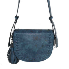 Fashion army blue PU leather saddle bag shoulder bag for colleage girls ladies