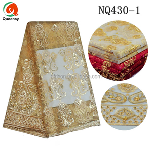 NQ430 Queency Latest Sequin Net Embroidery Fabric Design Cotton Nylon French Lace for Clothes
