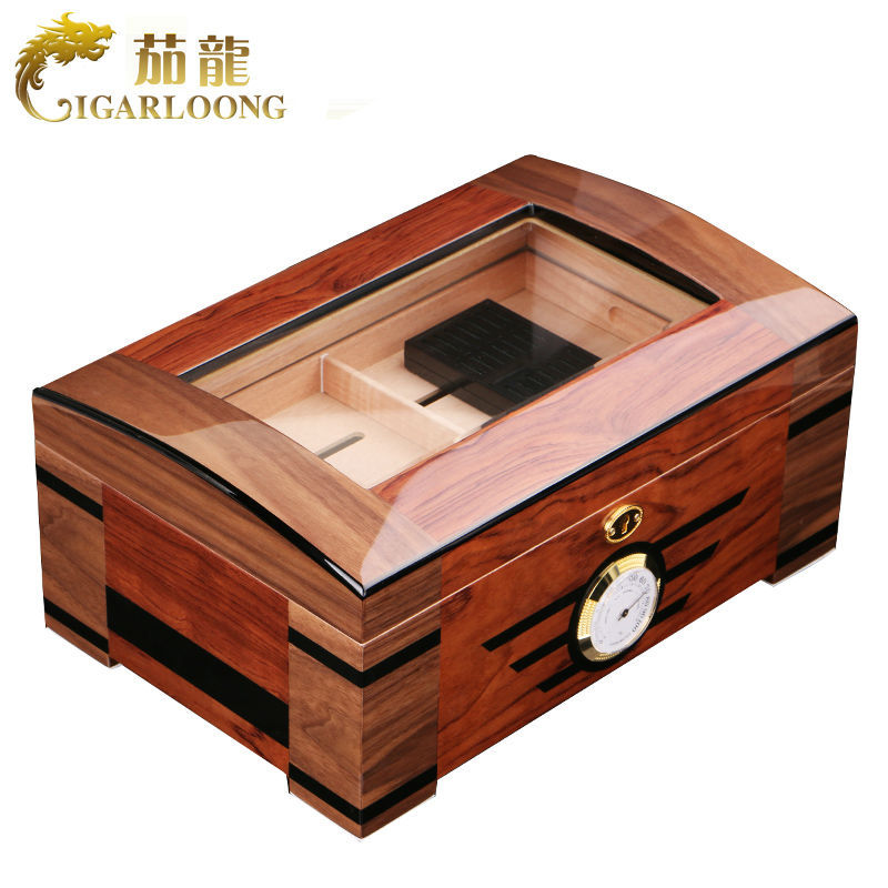 High-end Glass Transparent Skylight Glossy Piano Cedar Wood Cigar Humidor Double-deck Storage Box W/Lock Hygrometer Humidifier