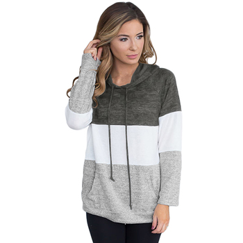 Triple Color-block Patchwork Pullover Hoodie Sweatshirt Blouse Clothes Women  Blusas Ropa Mujer