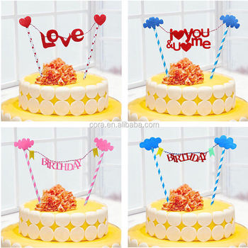 Happy Birthday Cake Topper Bunting Flag Banner Party Wedding Decoration CA204