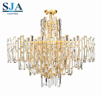 Round luxury hall Industrial hanging lamp meteor shower chandelier crystals for hotel
