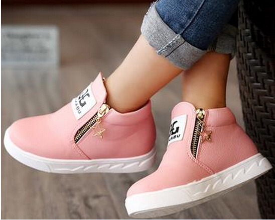 New fashion children star zip shoes boys girls hot sale Australia PU boots single low short