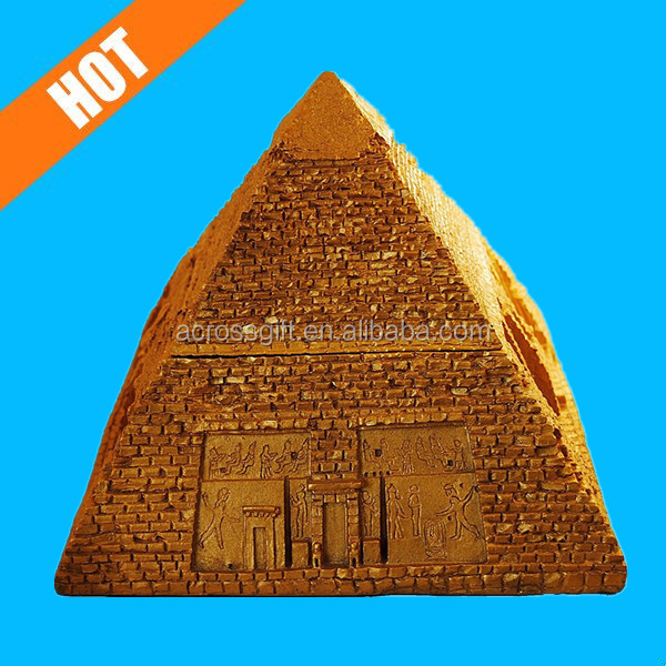 Customized Handmade Painted Decorative Poly Resin Eqyptian Pyramid Jewelry Box