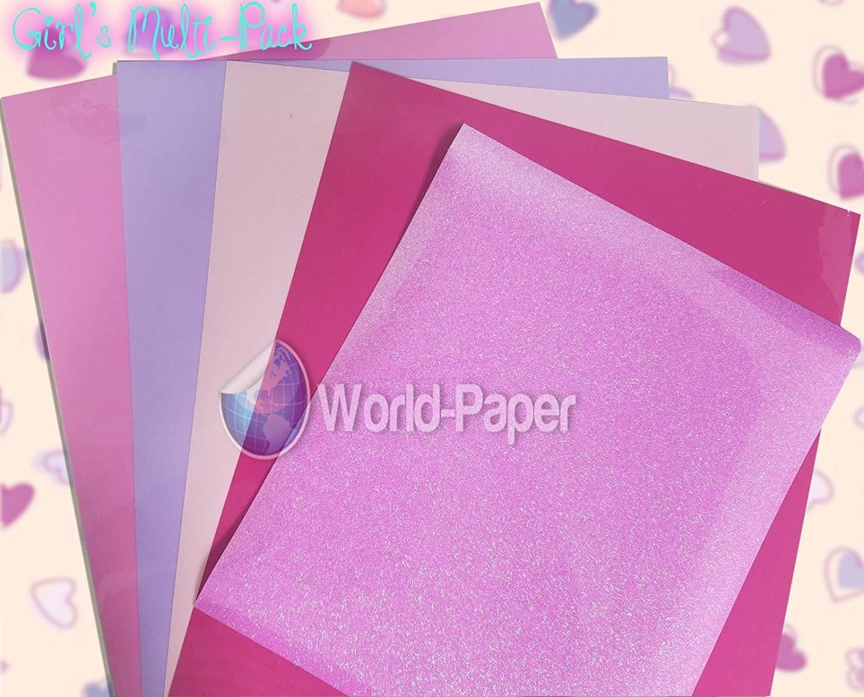 Glitter Heat Transfer Vinyl Sheets Girl's Multi-Pack 5 Sheets HTV Soft-Stretch. for Cutter Plotter Cameo, Cricut