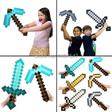 2pcs 1lot Newest Design Game Toy Diamond Sword Foam Mosaic diecast pickaxe and sword kids christmas