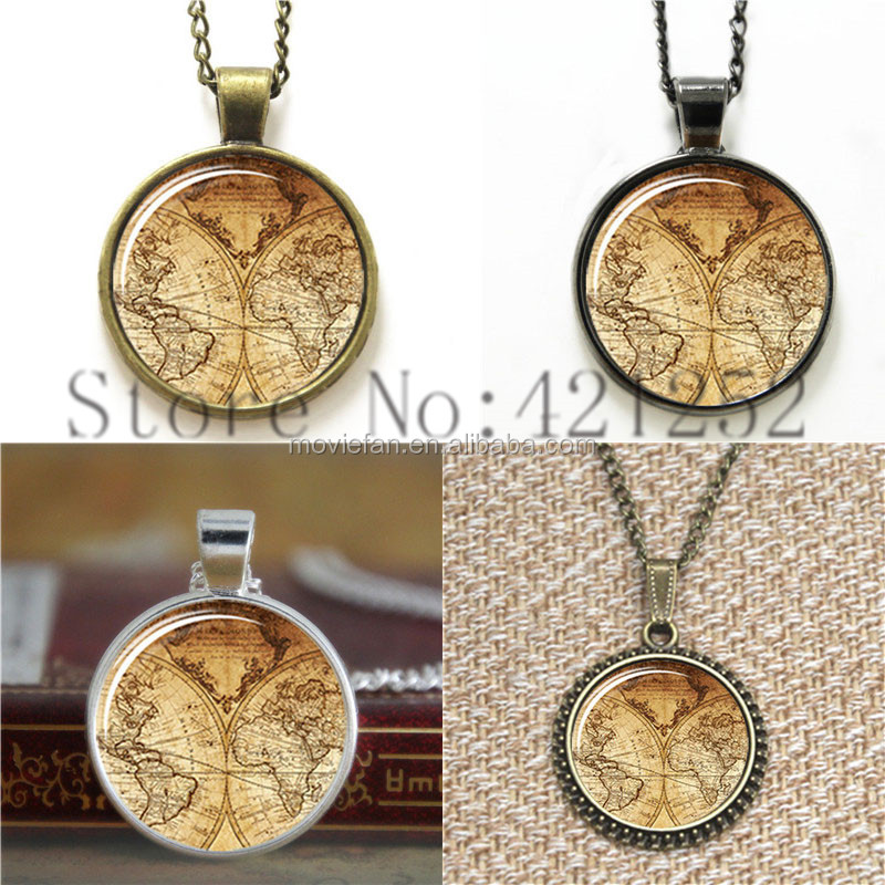 World map Pattern old map of the world 1733 necklace keyring bookmark cufflink earring